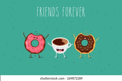 Coffee and donuts illustration. Vector cartoon. Friends forever. Comic characters.