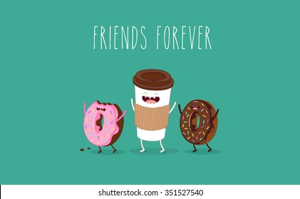 Coffee and donuts illustration. Vector cartoon. Comic characters.