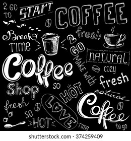 Coffee doodle background, hand drawn on black,vector illustration