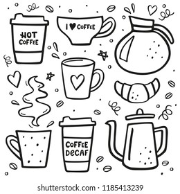Coffee doodle big set. Coffee to go, coffee pots, cups and design elements.
