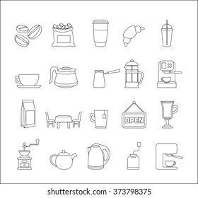 Coffee - Doodle Elements Set. Cafeteria Icons Collection. Vector Illustration.