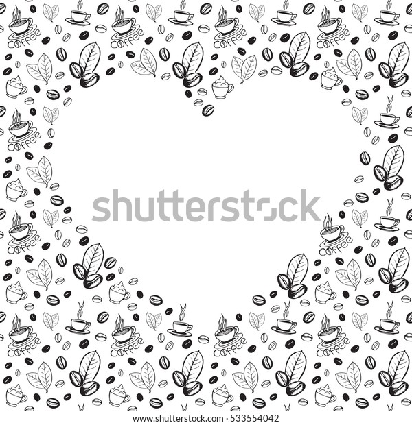 Coffee doodles background with blank heart shape inside. Hand drawn sketchy symbols pattern. Vector eps8 illustration.