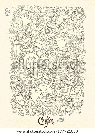 Coffee Doodles Sketch Coffee Tea Design Stock Vector Royalty Free