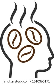 Coffee dreams head vector icon. Flat Coffee dreams head pictogram is isolated on a white background.