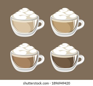 Coffee drink with frothy foam in a glass mug with different milk ratio set. Clip art vector illustration for cafe shop menu, prints and design elements, etc. Latte espresso cappuccino black.