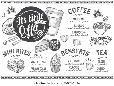 Coffee drink menu for restaurant and cafe. Design template with hand-drawn graphic illustrations.