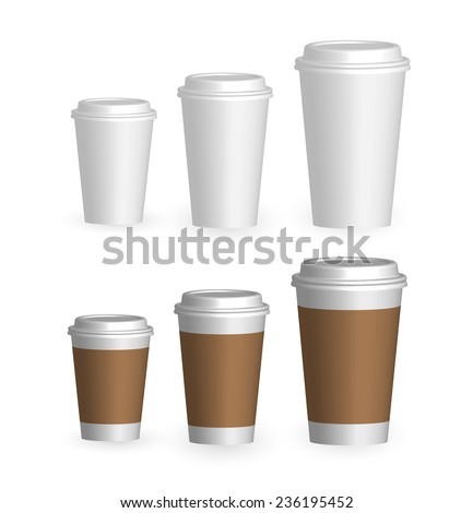 coffee drinking cups sizes set vector stock vector royalty free