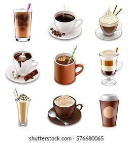 Coffee drinks icons detailed photo realistic vector set