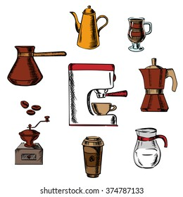 Coffee drinks icons with grinder, pot, sugar, beans, cups and coffee maker around coffee machine. Colorful vector illustration
