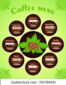 The coffee drinks infographics, set elements. A visual reference for ingredient ratios. Vector illustration