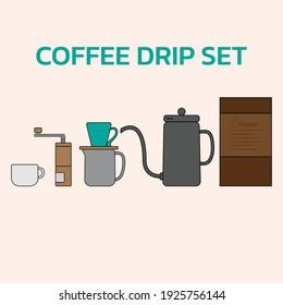 Coffee drip set illustation vector