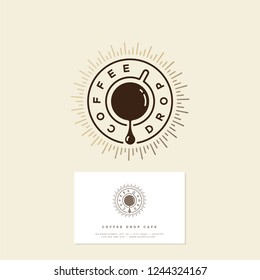 Coffee drop cafe logo. Coffee emblem. Coffee drop and a cup of coffee with gold sunrays. Hipster flat logo. Identity. Business Card.