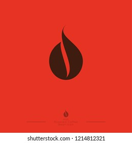 Coffee drop icon. Coffee emblem. Coffee drop, like coffee bean on orange background. Flat logo.