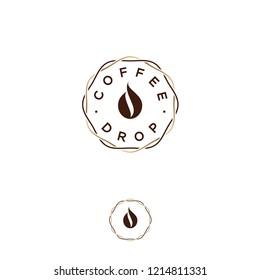 Coffee drop logo. Coffee emblem. Coffee drop, like coffee bean, in intertwined wreath lines. Hipster flat logo.