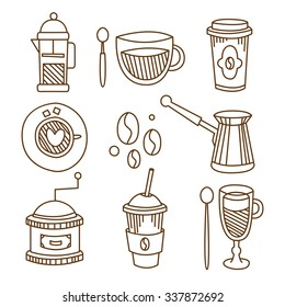 Coffee Elements in Handdrawn Linear Style. Vector Illustration Collection