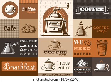 Coffee emblem collection. Vector Illustration