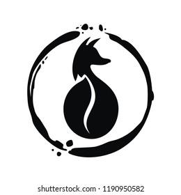 Coffee emblem. Kopi luwak. Wild animal as coffee bean silhouette. Black fox/ palm cat/musteline in the frame. Imprint. Art spot. Concept for logo. Coffee bean symbol. Organic food sign. Vector ill.