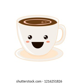 Coffee emoji cup with eyes. Kawaii cup. Element for menu. Emoji icon. Vector illustration of hot tea and coffee.