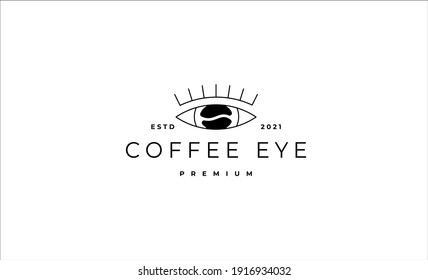 Coffee Eye Monoline Logo Design Vector illustration