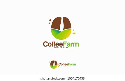 Coffee Farm logo designs concept, Nature Coffee logo template vector illustration