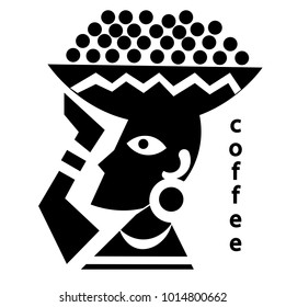 Coffee. The farmer bears (woman) a basket of coffee beans on his head. Plantation. Black and white drawing. Vector illustration.
