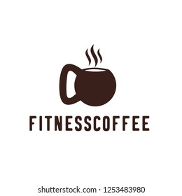 coffee fitness gym concept. Vector logo, label, icon or emblem with coffee cup and barbell shape. workout and bodybuilding.