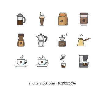 Coffee flat line colored icons with French press, iced coffee, paper bag, takeaway cup, instant coffee, moka pot, grinder, espresso, cappuccino, machine.