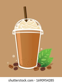 Coffee frappe with whipped cream in take a way cup and coffee beans.