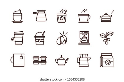 coffee fresh product maker machine and others icon line design vector illustration