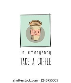 Coffee funny sticker design