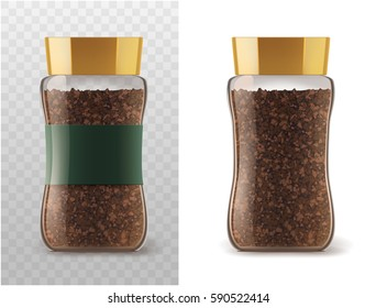 Coffee glass jar with instant coffee granules icons. Vector container package with brown lid and ribbon sticker isolated on white and transparent background for product packaging template.