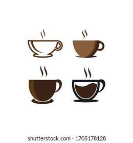 coffee glass logo icon template vector