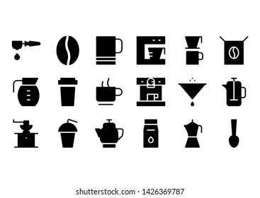 coffee glyph icon symbol set