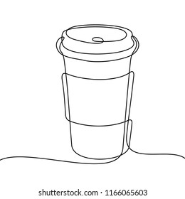 Coffee to go. Continuous line sketch