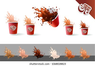 Coffee To Go. Coffee and Milk. Red Ripple Cups and Splashes Isolated on a White Background