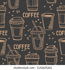 Coffee to go on dark background. Seamless pattern for textile prints, gift wrap or wallpaper.