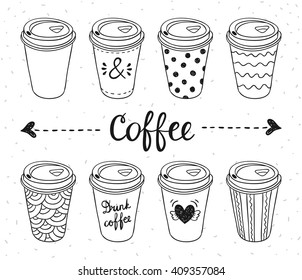 Coffee to go paper cups hand drawn vector illustration. Hot drinks take away concept