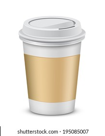 Coffee to go. Plastic coffee cup with lid. Vector illustration
