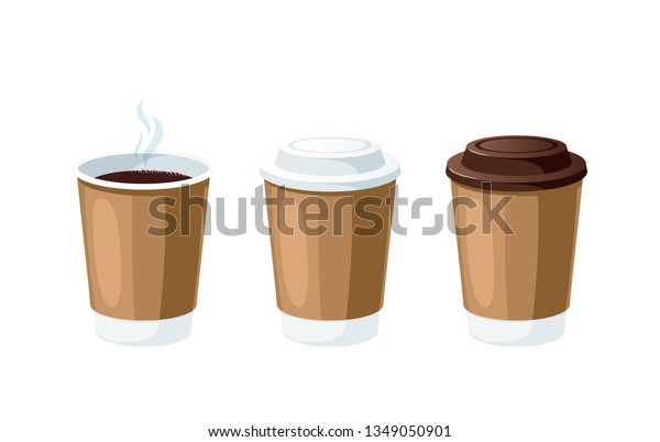 Coffee Go Set Plastic Cups Coffee Stock Vector Royalty Free