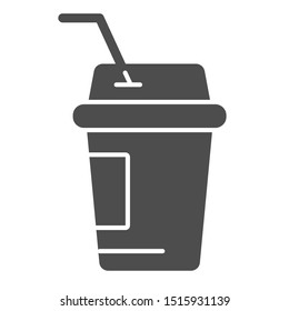 Coffee to go solid icon. Iced coffee vector illustration isolated on white. Coffee in paper cup glyph style design, designed for web and app. Eps 10