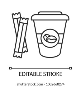 Coffee to go with sugar sachets linear icon. Thin line illustration. Disposable coffee cup with lid. Contour symbol. Vector isolated outline illustration. Editable stroke