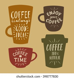 Coffee to go textured cartoon illustrations set with hand drawn lettering on different cups. Vintage colors coffee illustrations for your design.