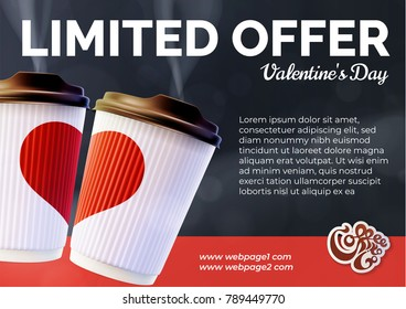 Coffee to Go Valentine's Day Banner Concept