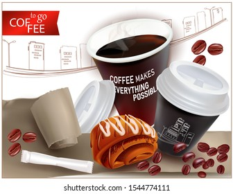 Coffee to go.Realistic Paper Cup with coffee, plastic lid.Fast food in a disposable Cup.Pastry. Poppy seed bun. Bag of sugar.3d Torn Realistic Vector Paper.Ripped paper.Damaged, torn packaging.
