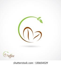 Coffee grains sign - vector illustration