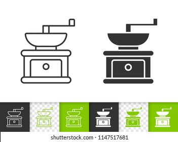 Coffee Grinder black linear and silhouette icons. Thin line sign of hand grind. Bean Mill outline pictogram isolated on white, green, transparent. Vector Icon of Coffee Grinder simple symbol closeup