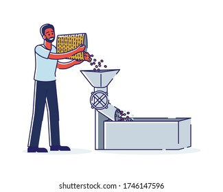Coffee grinders machine. Cartoon coffeehouse worker milling fresh roasted beans. Coffee production industry and machinery equipment concept. Linear vector illustration