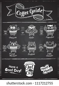 Coffee guide infographic with cartoon owls. Owl Cup logo. Chalkboard style design. Vector illustration.