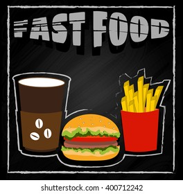 Coffee, hamburger, fries on black background