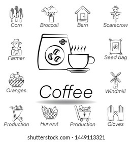 coffee hand draw icon. Element of farming illustration icons. Signs and symbols can be used for web, logo, mobile app, UI, UX